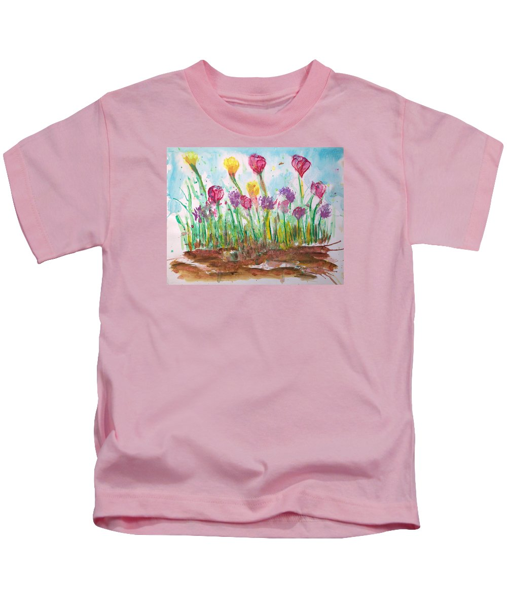 Flowers Kids T-Shirt featuring the painting Blooming Colors by J R Seymour