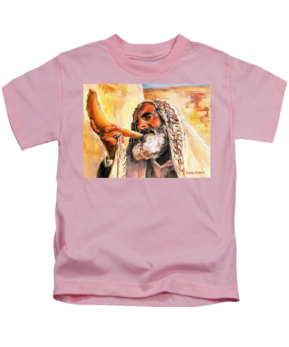 Rabbis Kids T-Shirt featuring the painting Blow The Trumpet In Zion by Carole Spandau