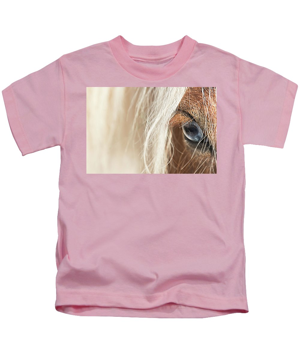 Horse Kids T-Shirt featuring the photograph Blue Eyed Horse by Kathryn Bell