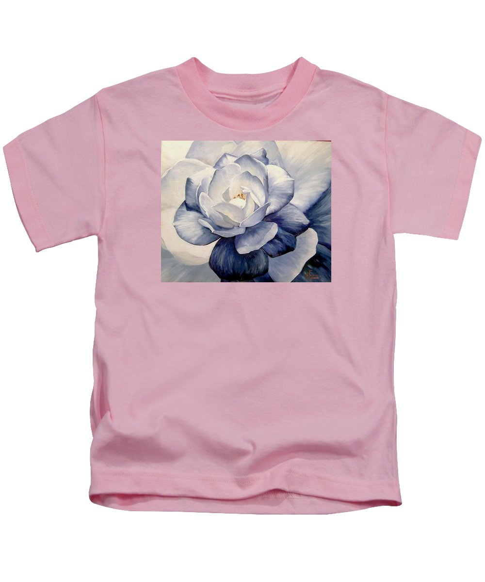 Flower Macro Nature Blue Gardenia Kids T-Shirt featuring the painting Blue by Natalia Tejera