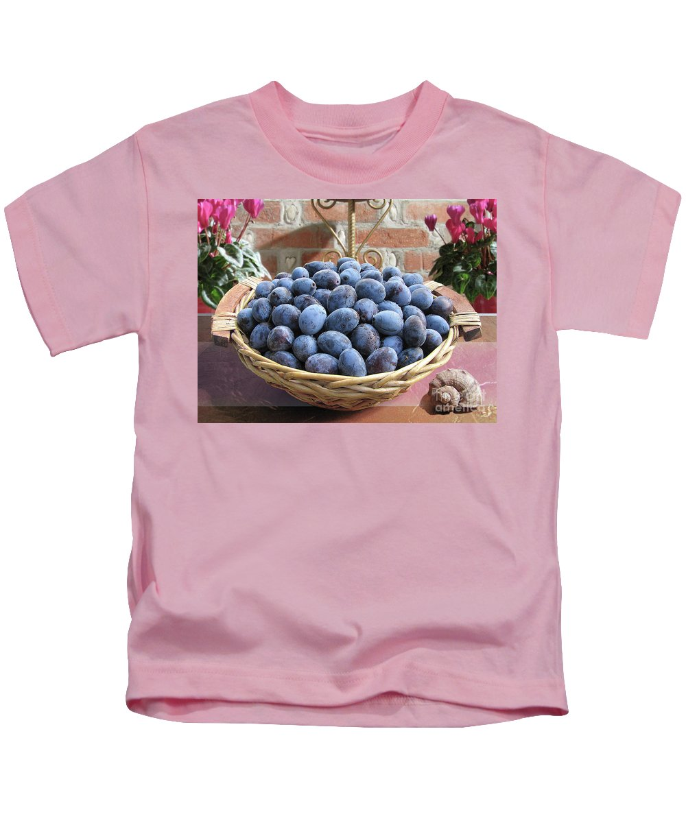 Plum Kids T-Shirt featuring the photograph Blue Plums In A Basket by Mira Ostojic