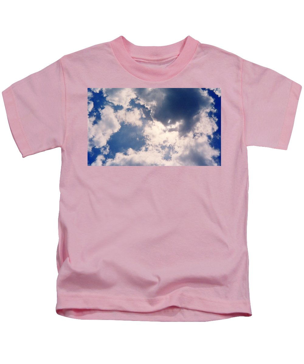 Blue Kids T-Shirt featuring the photograph Blue Sky And Clouds by Cindy New