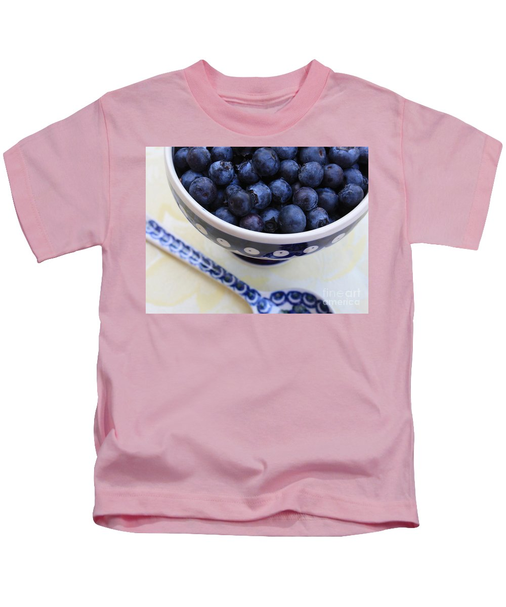 Food Kids T-Shirt featuring the photograph Blueberries In Polish Pottery Bowl by Carol Groenen