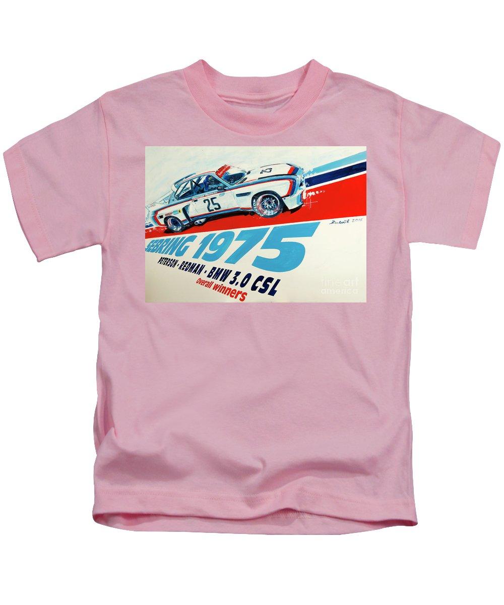 Bmw Kids T-Shirt featuring the painting Bmw 3.0 Csl Sebring 1975 Peterson Redman by Daniel Senkerik
