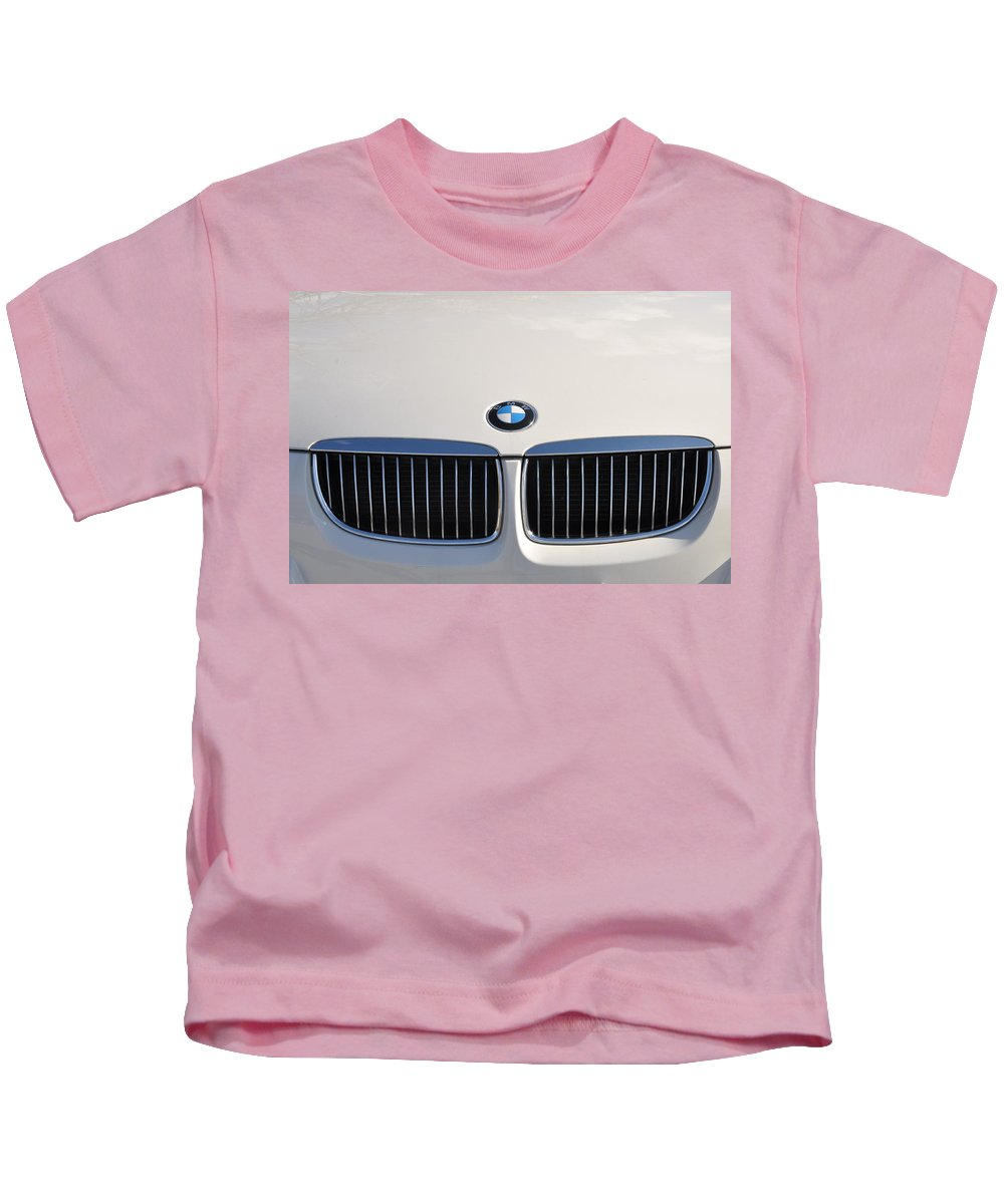 Bmw Kids T-Shirt featuring the photograph Bmw Grille White by Bill Cannon