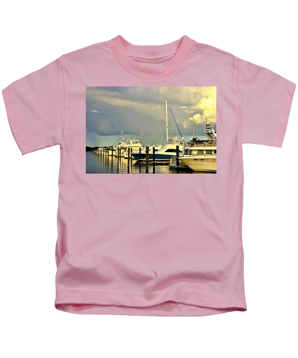Kids T-Shirt featuring the photograph Boatworks 1 by Lisa Renee Ludlum
