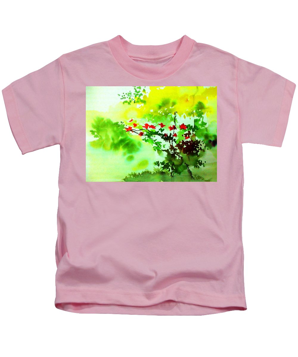 Floral Kids T-Shirt featuring the painting Boganwel by Anil Nene