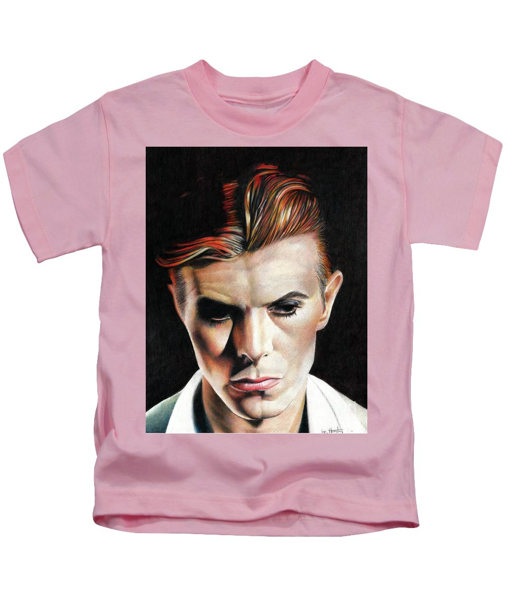 David Bowie Kids T-Shirt featuring the drawing Bowie Thin White Duke by Joe Hendry