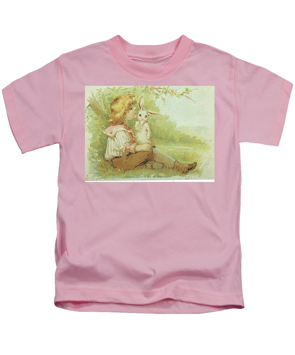 Frances Brundage Kids T-Shirt featuring the painting Boy And Rabbit by Reynold Jay