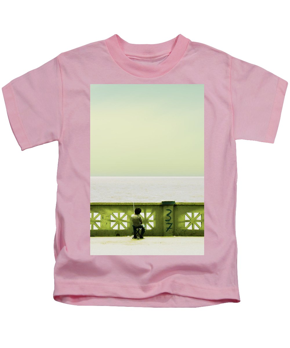 Argentina Kids T-Shirt featuring the photograph Boy Fishing by Osvaldo Hamer