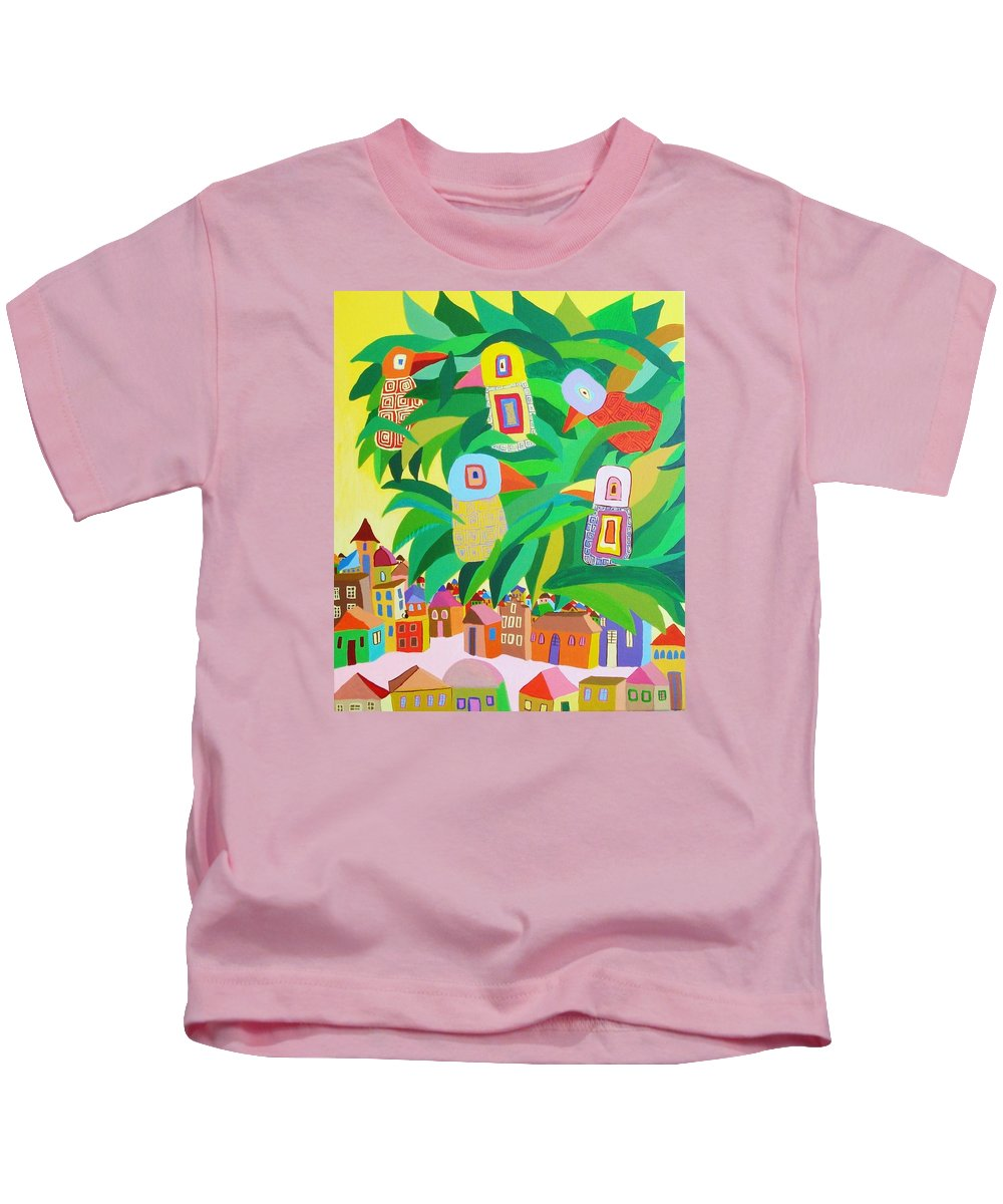 Birdlandscape Paintings Kids T-Shirt featuring the painting Branch Over The City by Mimi Revencu