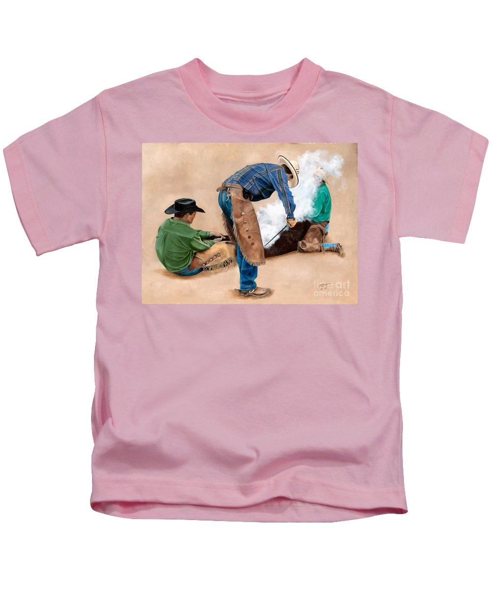 Art Kids T-Shirt featuring the painting Branding Day by Mary Rogers