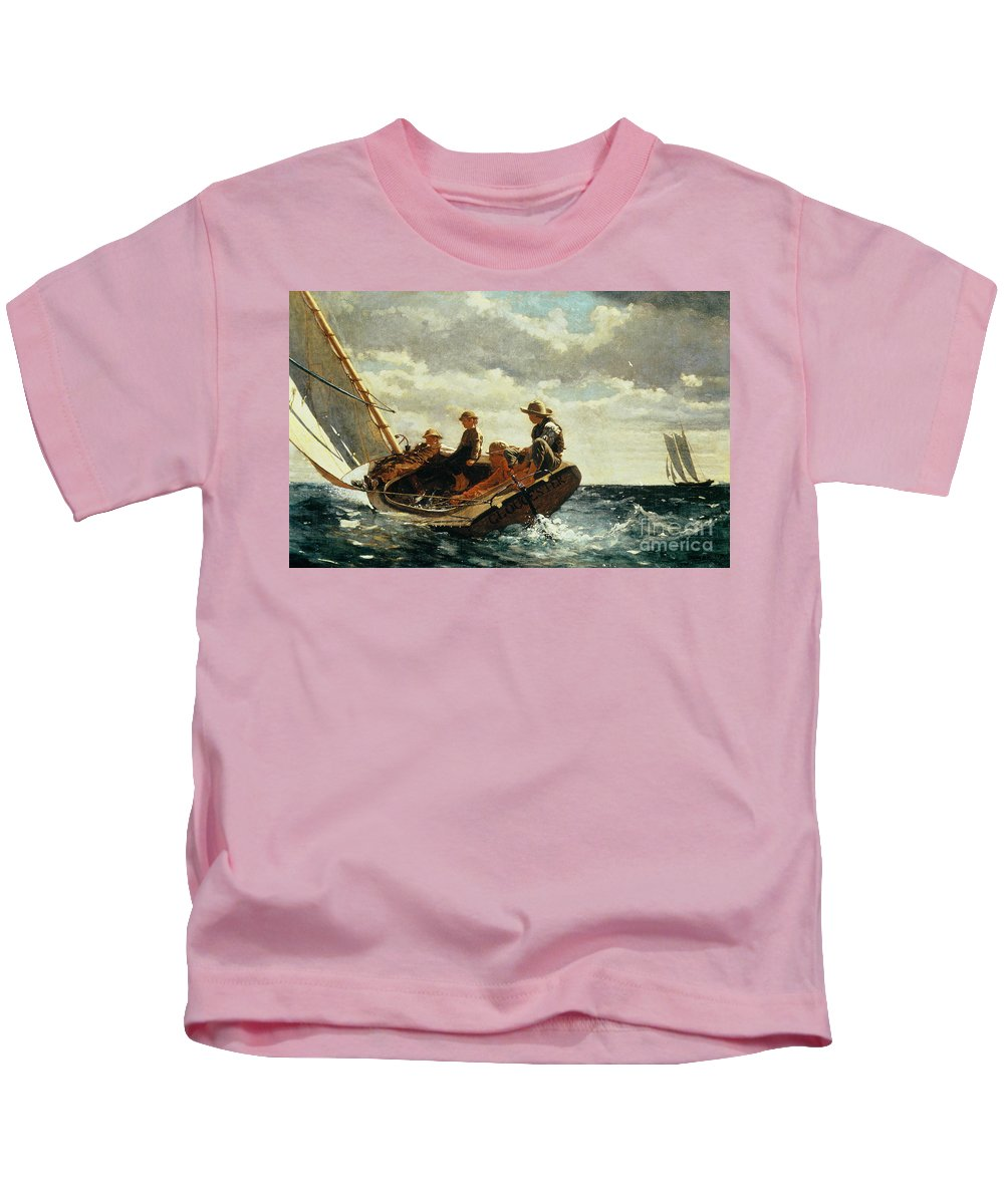 Breezing Up (a Fair Wind) 1873-76 (oil On Canvas) By Winslow Homer (1836-1910)boat Kids T-Shirt featuring the painting Breezing Up by Winslow Homer