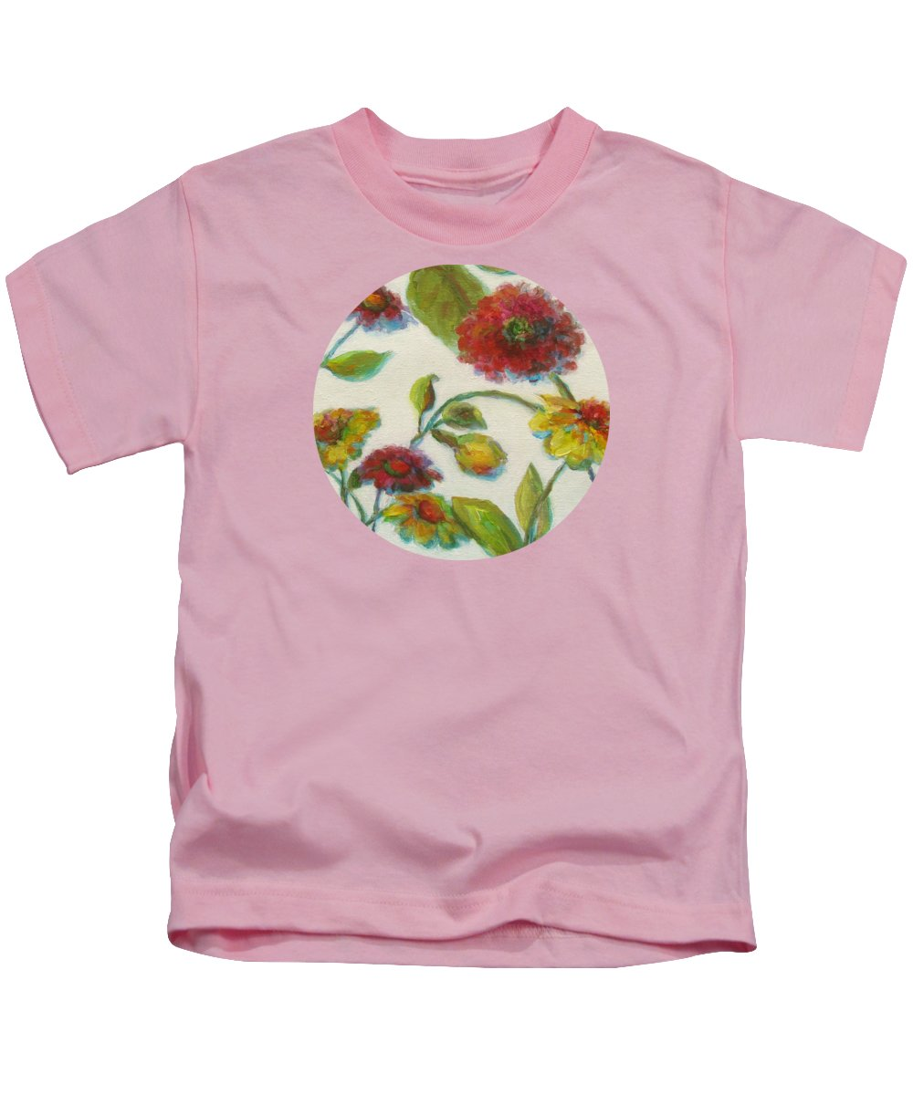 Bright Floral Kids T-Shirt featuring the painting Bright Contemporary Floral by Mary Wolf