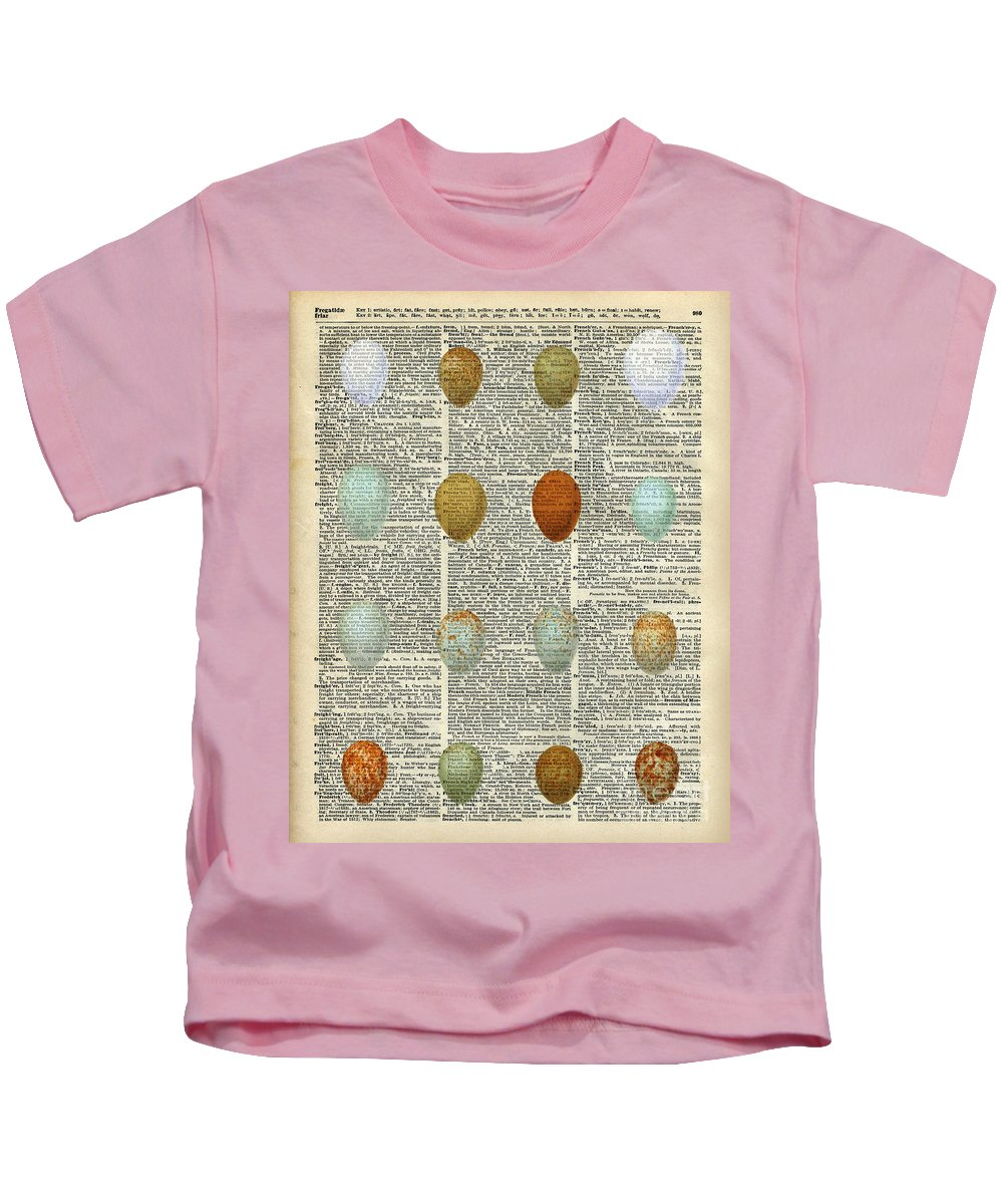 British Birds Eggs Kids T-Shirt featuring the painting British Birds Eggs by Anna W