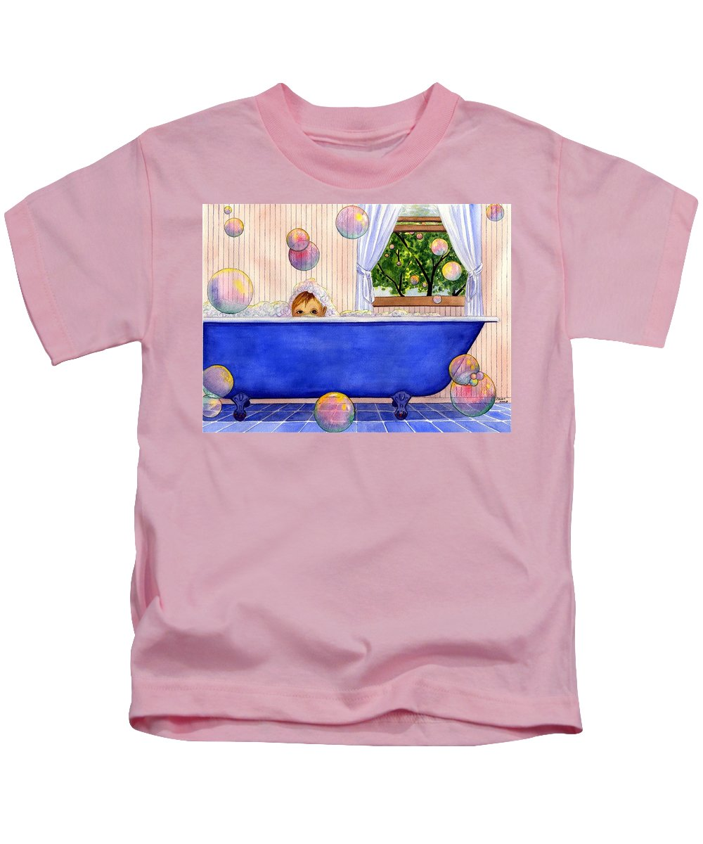 Bath Kids T-Shirt featuring the painting Bubbles by Catherine G McElroy