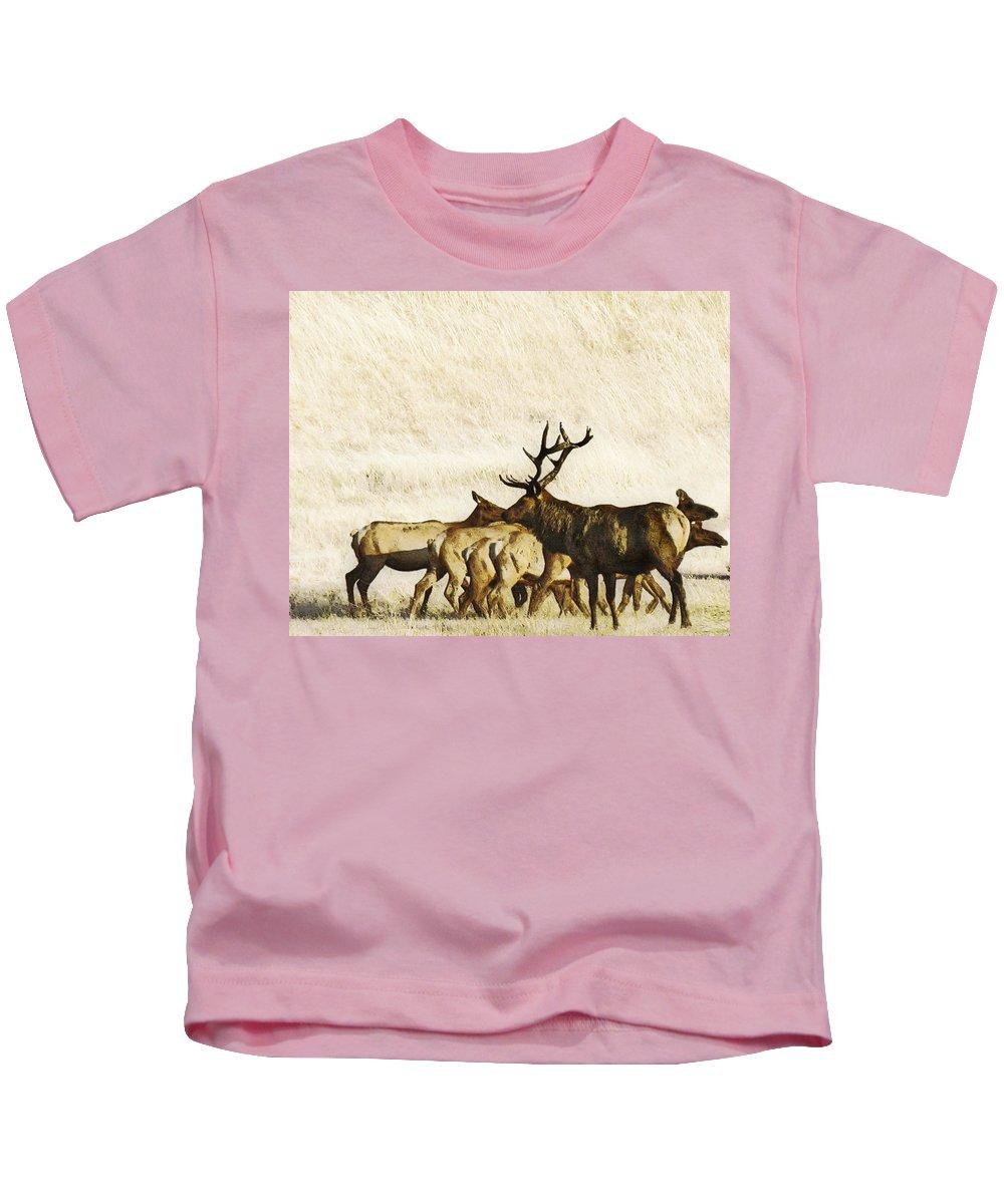 Landscape Kids T-Shirt featuring the photograph Bull Elk by Karen W Meyer