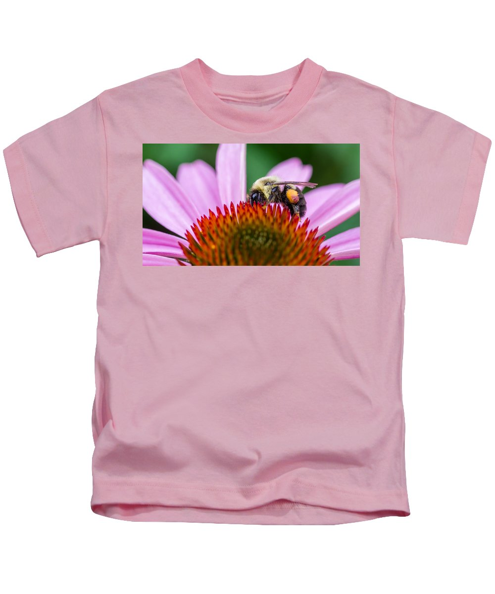 D Fa 50 2.8 Kids T-Shirt featuring the photograph Bumblebee On Coneflower by Lori Coleman