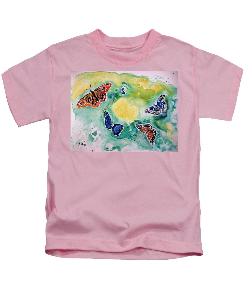 Watercolour Kids T-Shirt featuring the painting Butterflies by Derek Mccrea