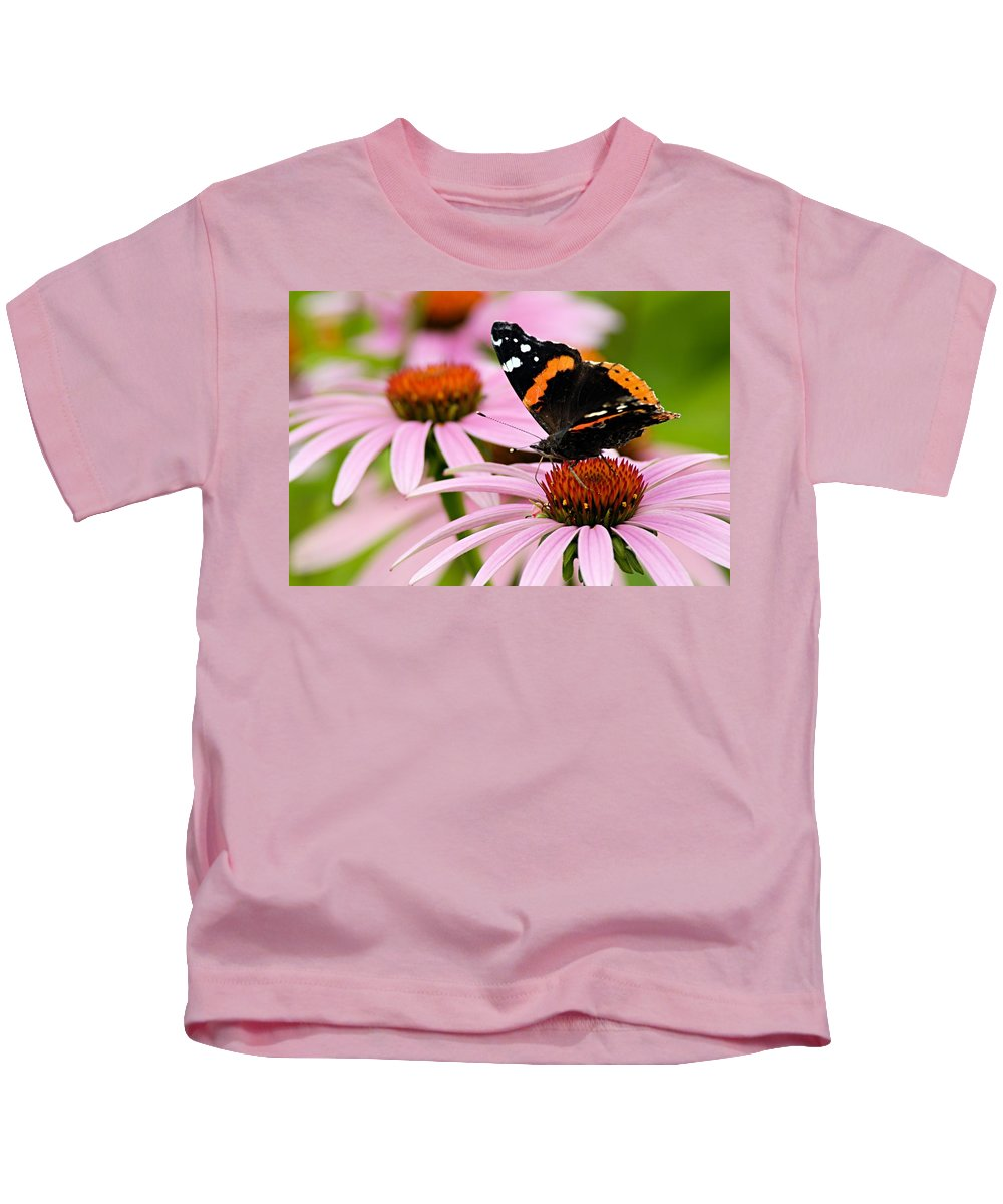 Photography Kids T-Shirt featuring the photograph Butterfly And Cone Flowers by Larry Ricker