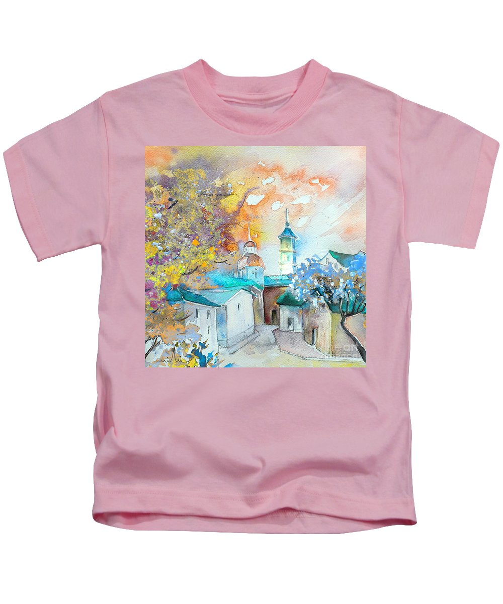 Watercolour Travel Painting Of A Village By Teruel In Spain Kids T-Shirt featuring the painting By Teruel Spain 03 by Miki De Goodaboom