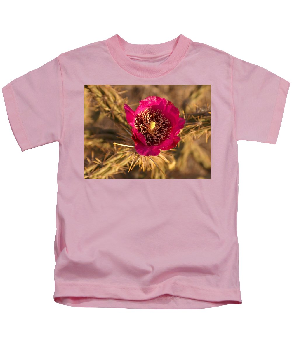 Cactus Flowers Wildflowers Kids T-Shirt featuring the photograph Cactus Flower 1 by Tim McCarthy