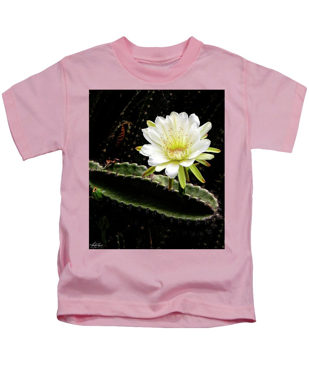 White Kids T-Shirt featuring the photograph Cactus Flower by Philip Rispin