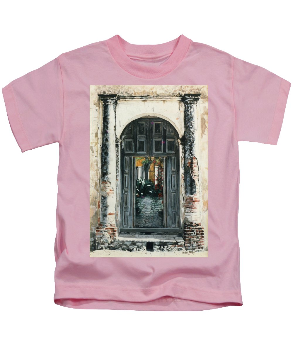Hyperrealism Kids T-Shirt featuring the painting Calle Tapachula - 2 Doors Open by Michael Earney