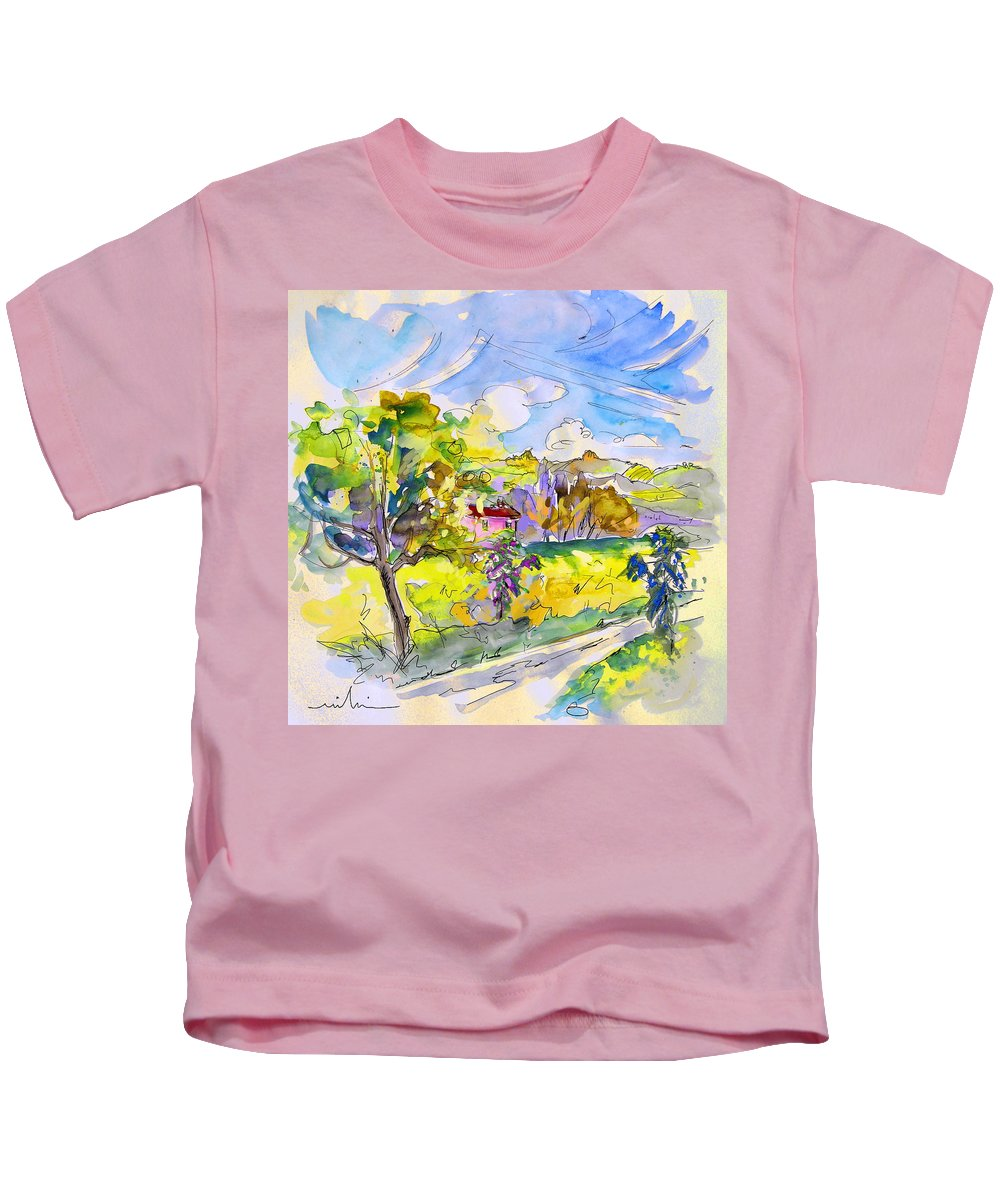 Pyrenees Kids T-Shirt featuring the painting Campagne Des Pyrenees by Miki De Goodaboom