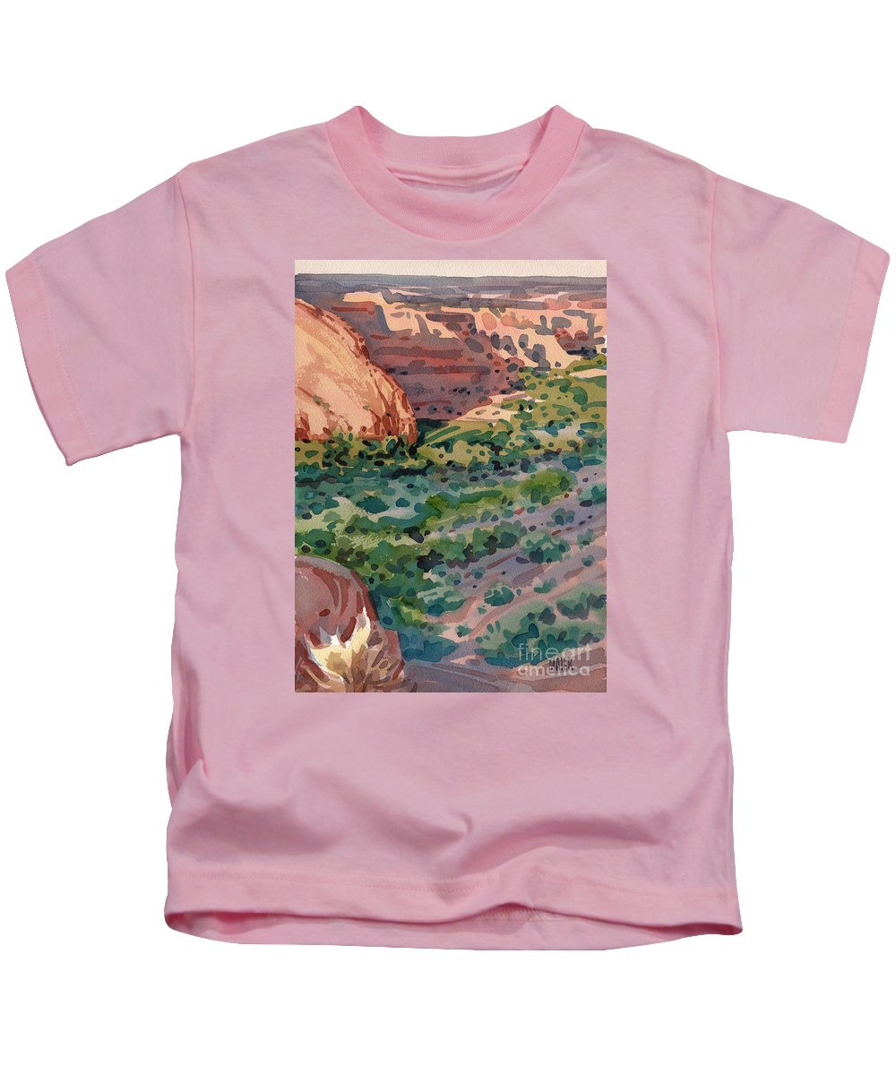 Canyon De Chelly Kids T-Shirt featuring the painting Canyon Shadows by Donald Maier