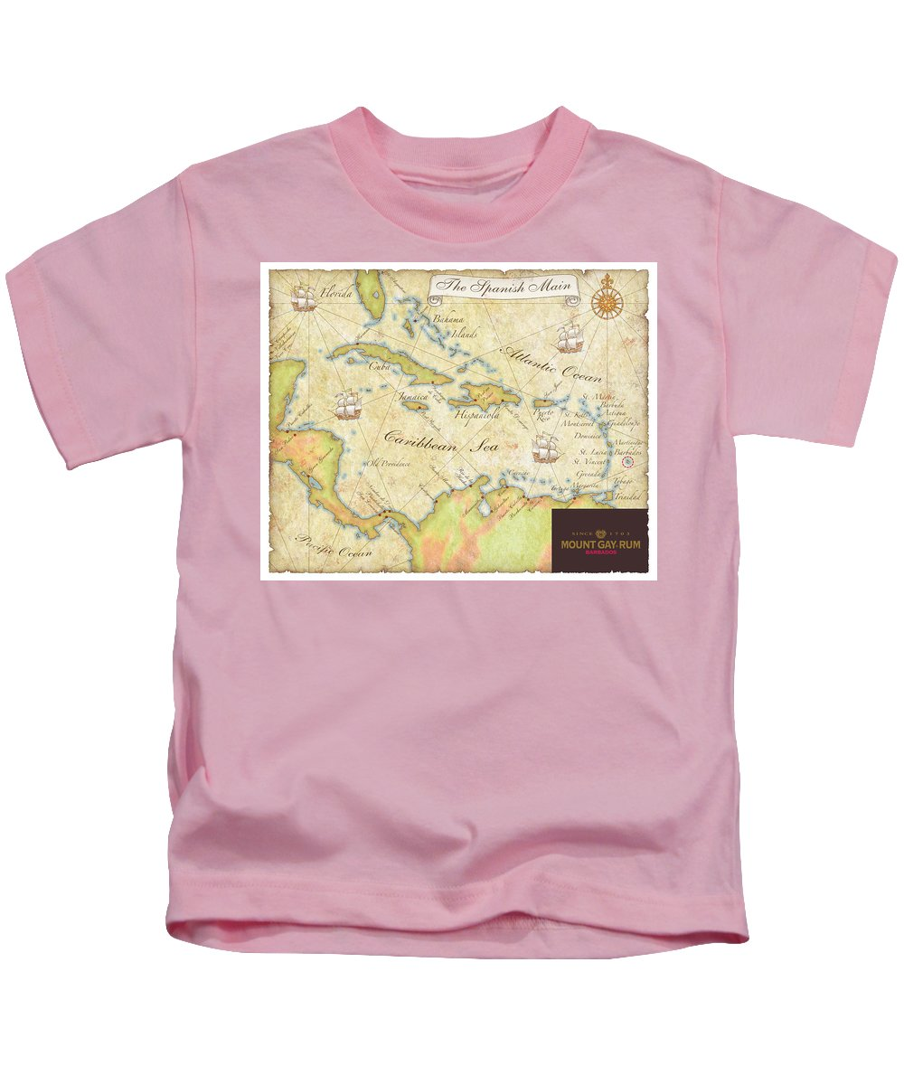 Map Kids T-Shirt featuring the digital art Caribbean Map II by Unknown