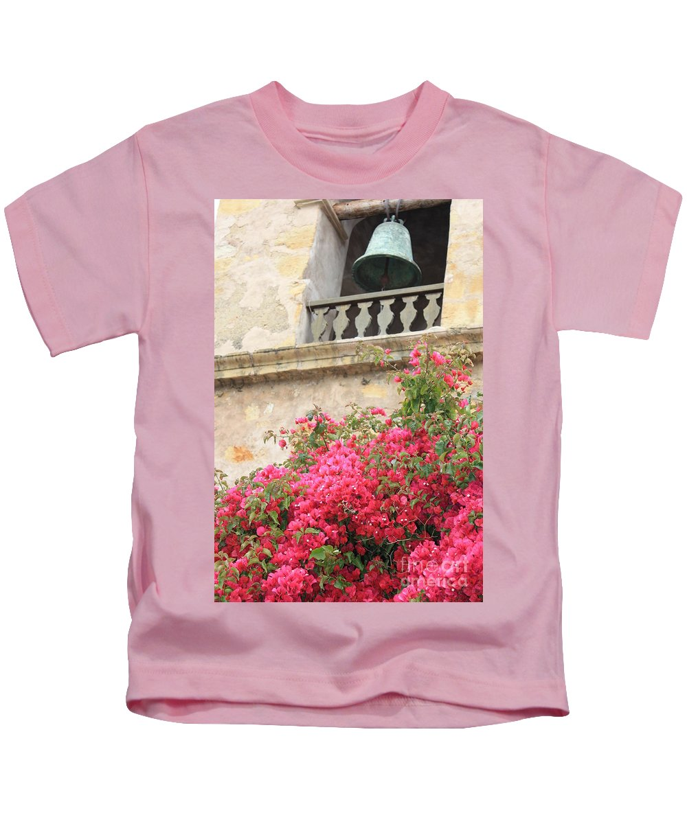 Carmel-by-the-sea Kids T-Shirt featuring the photograph Carmel Mission Bell by Carol Groenen