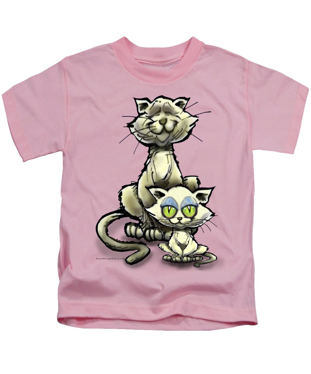 Cat Kids T-Shirt featuring the digital art Cat N Kitten by Kevin Middleton