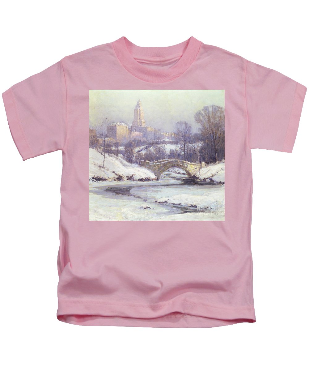 Winter Kids T-Shirt featuring the painting Central Park by Colin Campbell Cooper