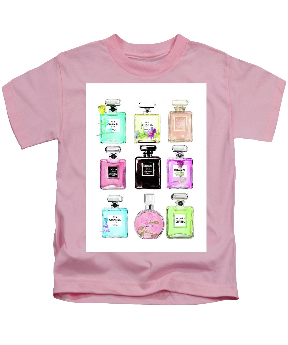 0c5798836e2279 Chanel Kids T-Shirt featuring the painting Chanel Perfume Set 9er by Del Art