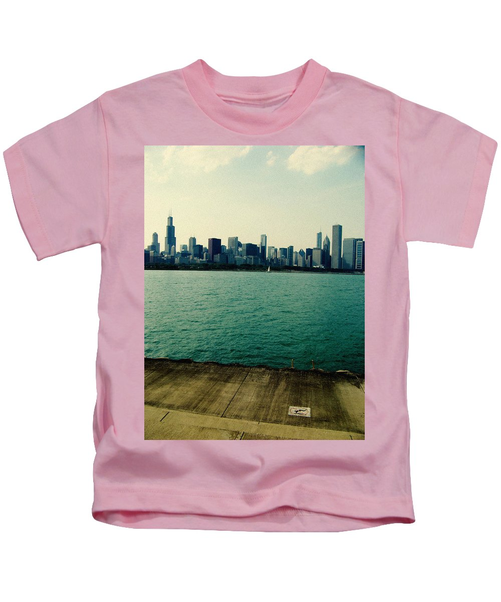 Chicago Kids T-Shirt featuring the photograph Chicago Lake Michigan Skyline by Kyle Hanson