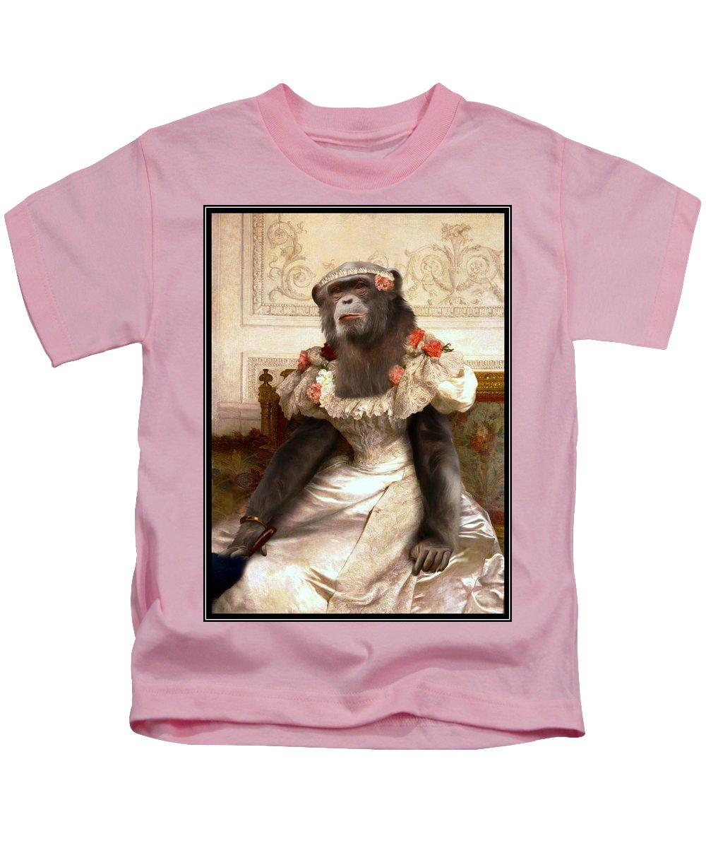 Bouguereau Kids T-Shirt featuring the painting Chimp In Gown by Gravityx9 Designs