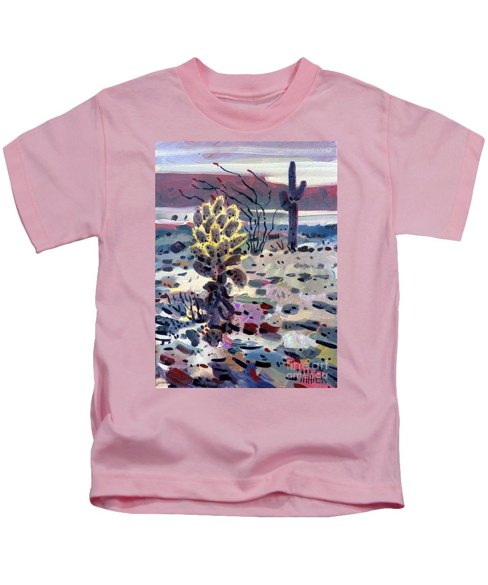 Cholla Kids T-Shirt featuring the painting Cholla Saguargo And Ocotillo by Donald Maier
