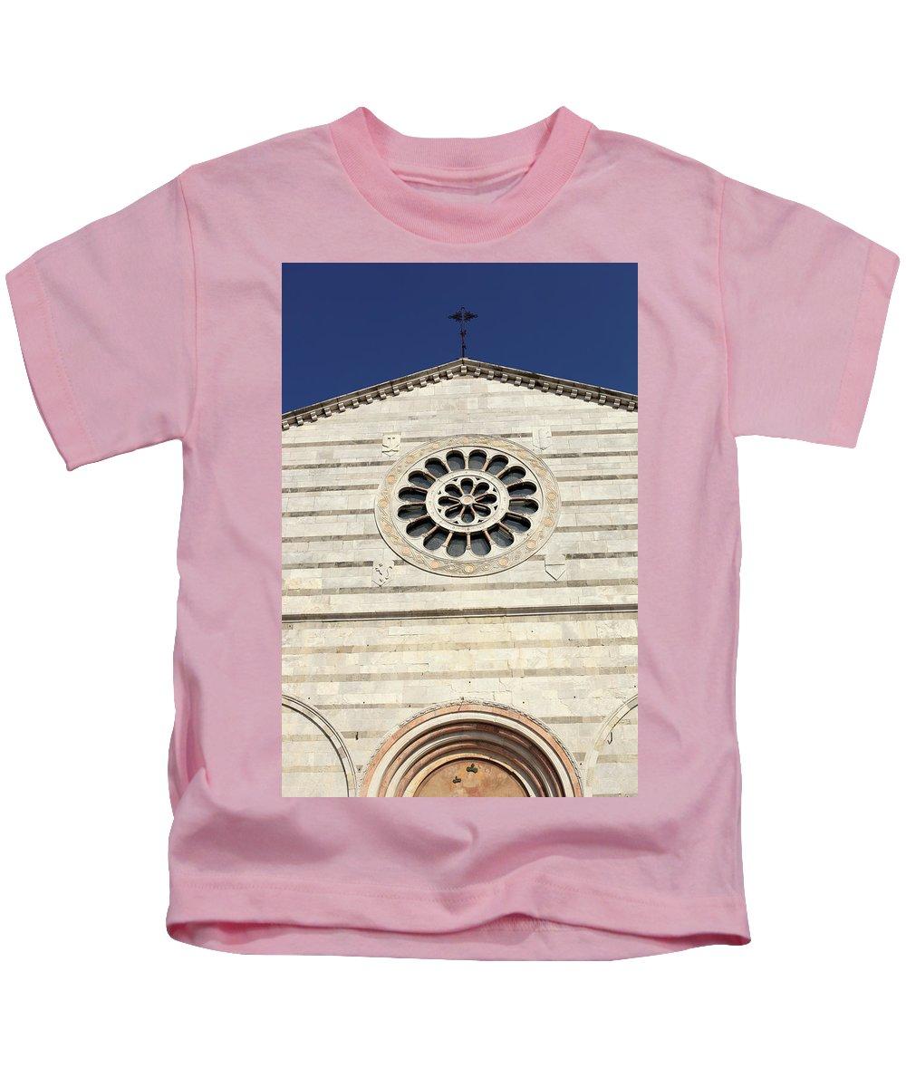 Cityscape Kids T-Shirt featuring the photograph Church Facade by Stefania Levi
