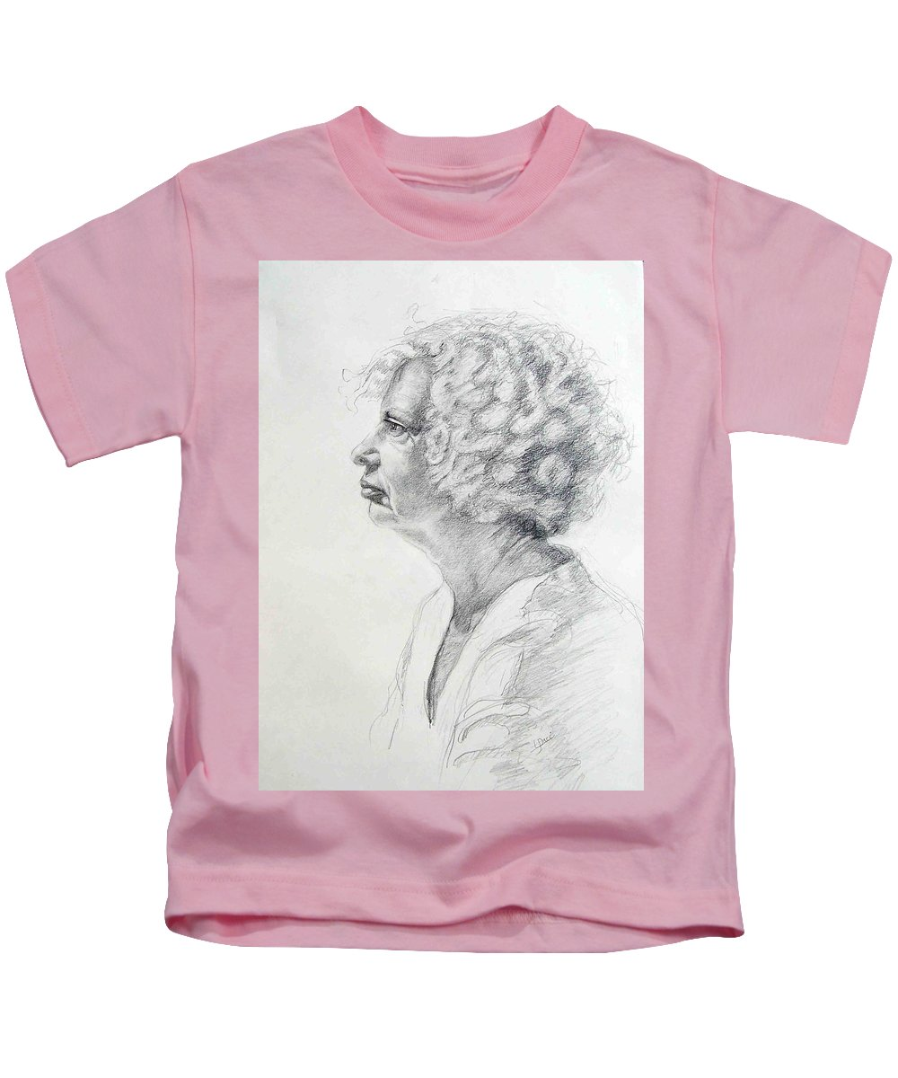 Portrait Kids T-Shirt featuring the drawing Claire by Laurie Paci