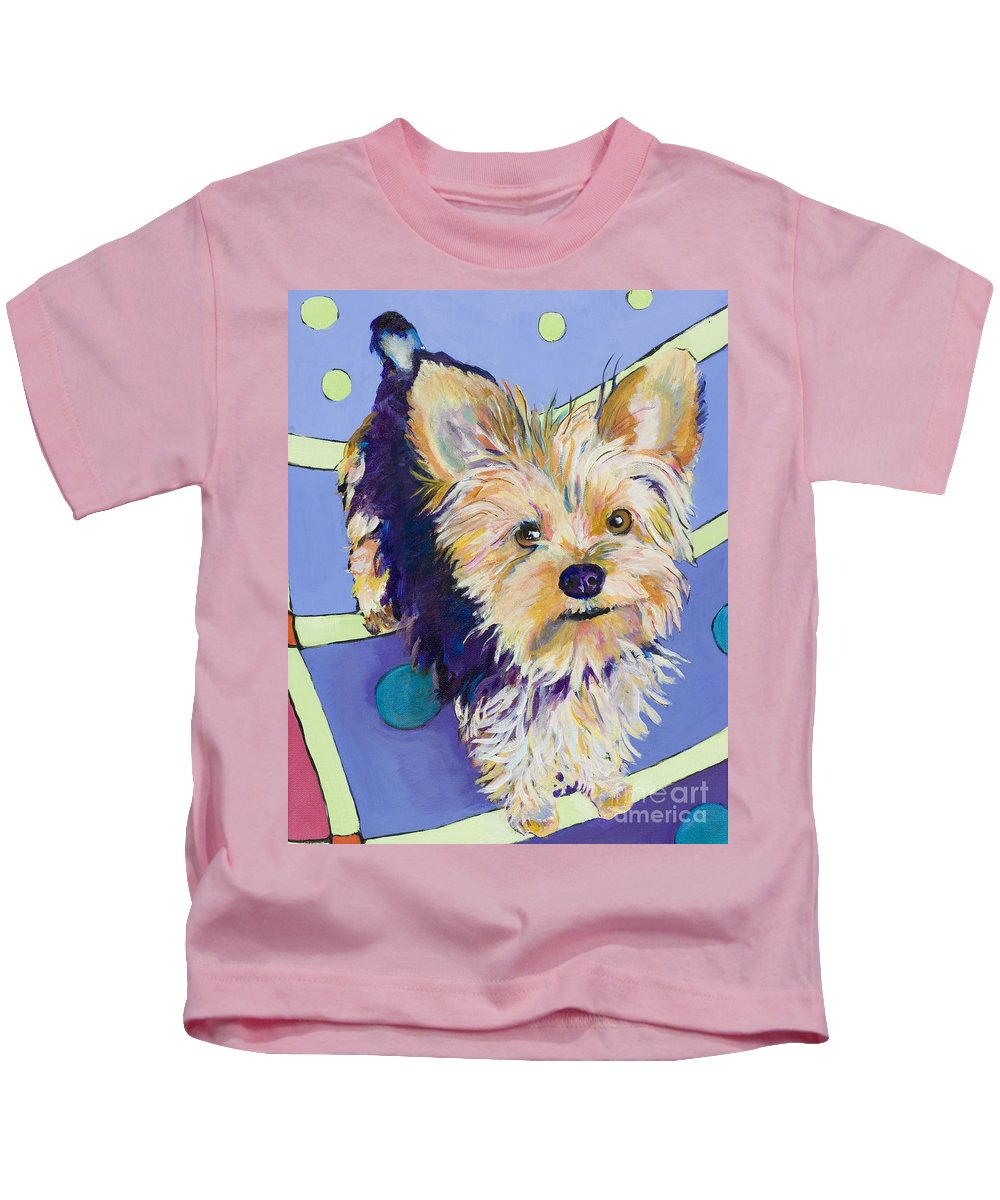 Pet Portraits Kids T-Shirt featuring the painting Claire by Pat Saunders-White