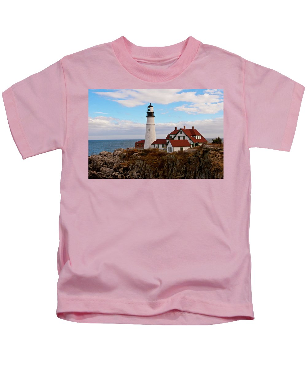 Seascape Kids T-Shirt featuring the photograph Clouds Over Portland Head Lighthouse 3 by Lou Ford