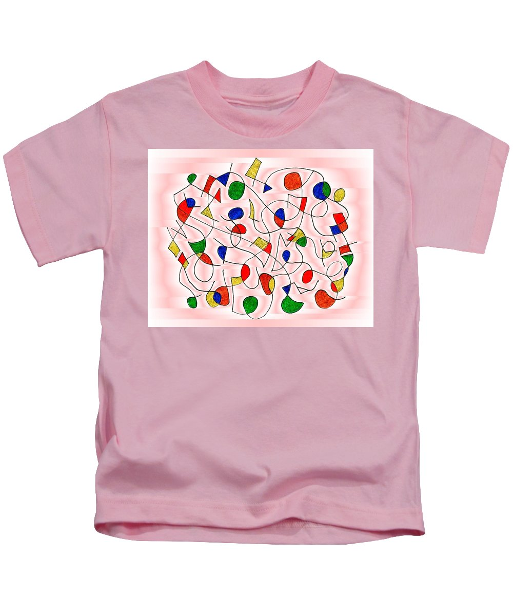 Abstract Kids T-Shirt featuring the digital art Clown Memory Cells Pink by Mark Sellers