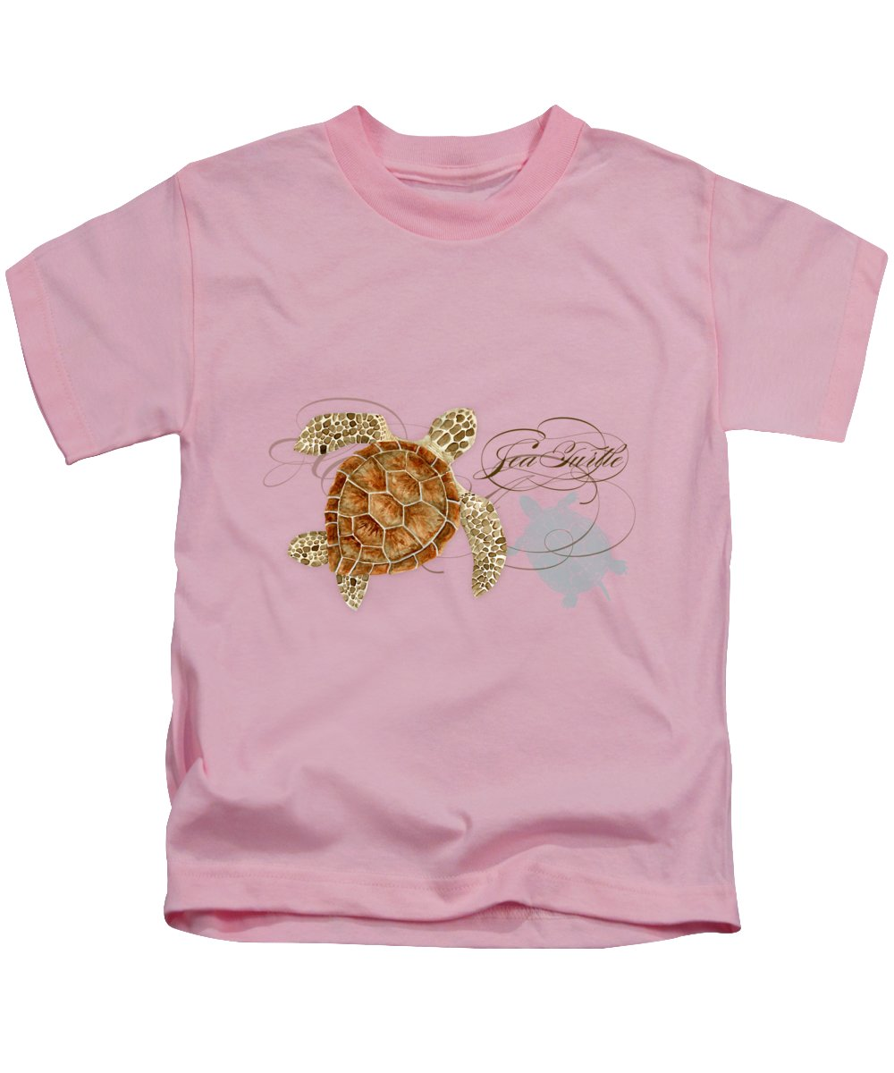 Watercolor Kids T-Shirt featuring the painting Coastal Waterways - Green Sea Turtle Rectangle 2 by Audrey Jeanne Roberts