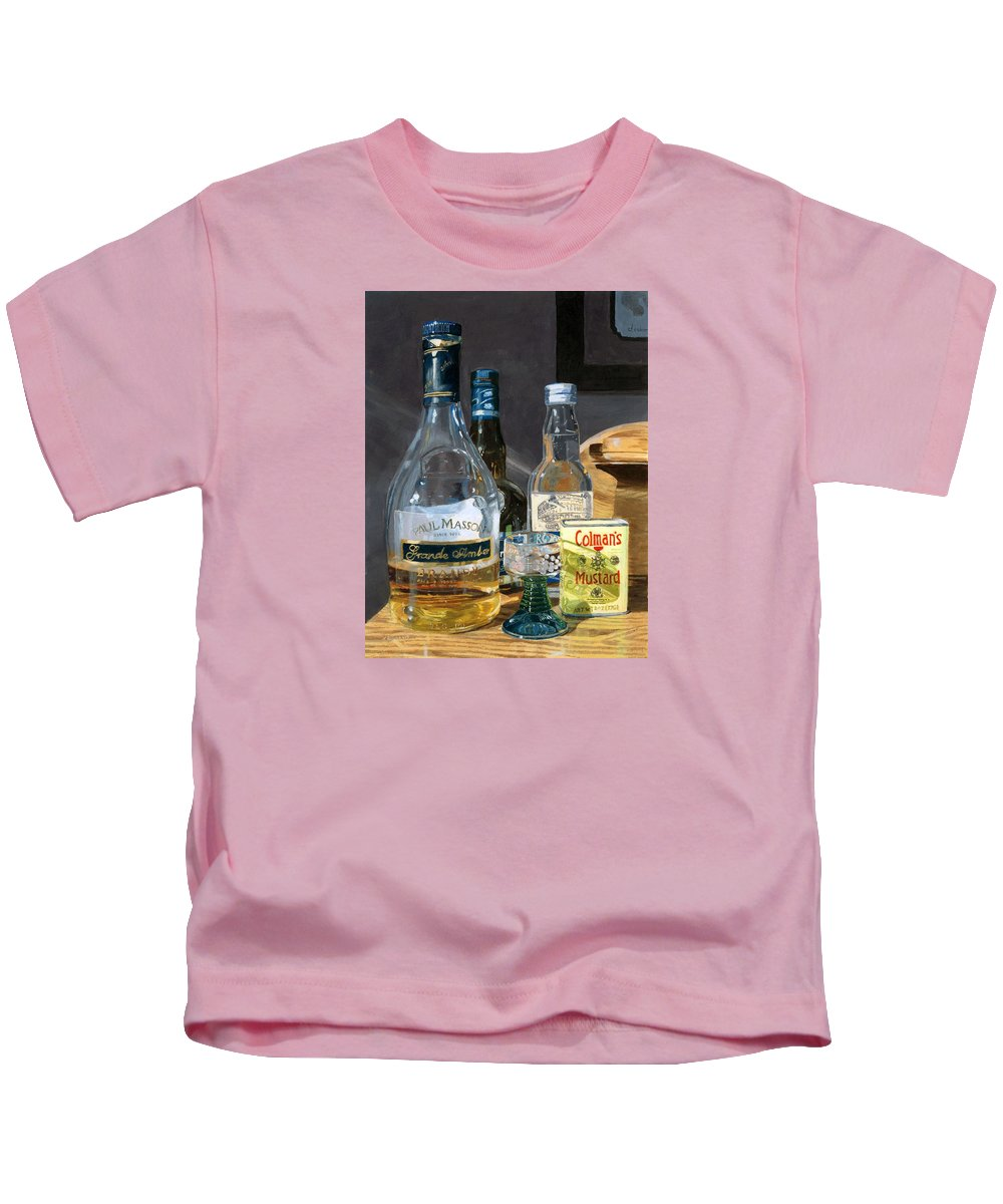 Cocktails Kids T-Shirt featuring the painting Cocktails And Mustard by Lynne Reichhart