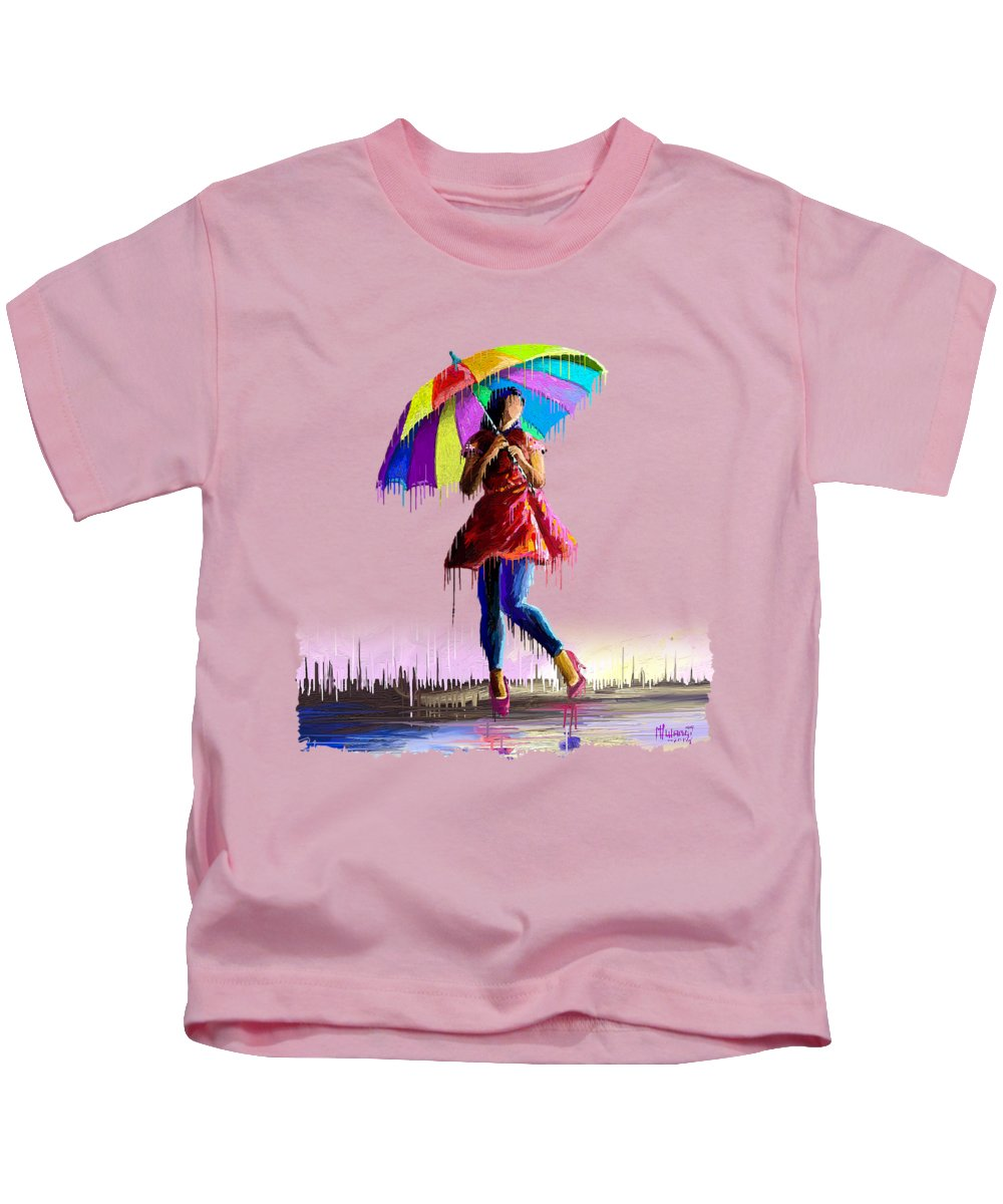 Kenyan Kids T-Shirt featuring the painting Colorful Umbrella by Anthony Mwangi