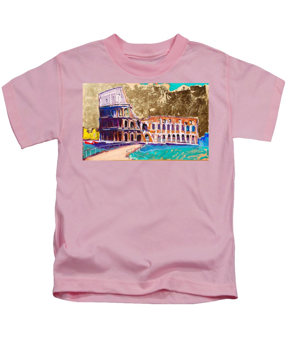 Rome Kids T-Shirt featuring the painting Colosseum by Kurt Hausmann