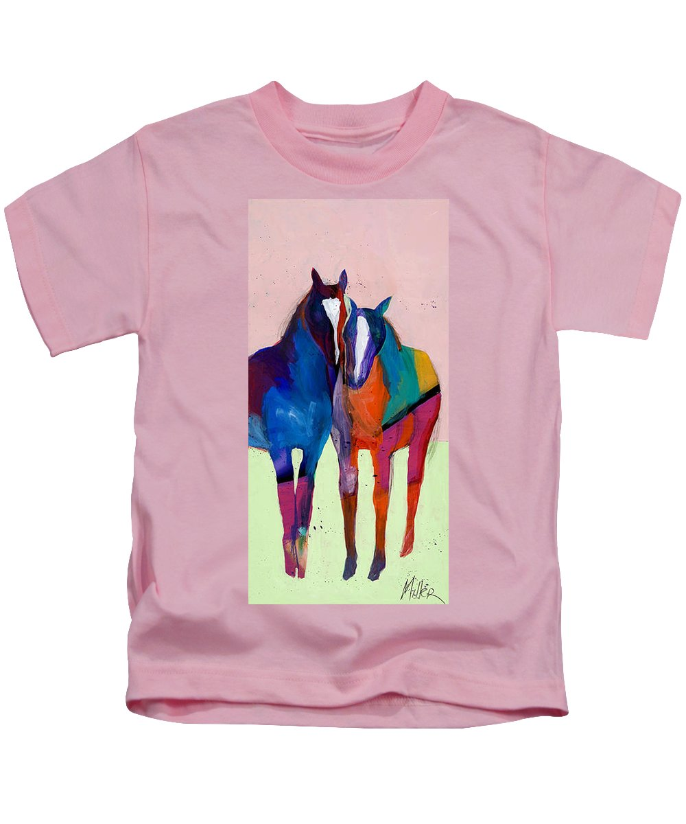 Horse Kids T-Shirt featuring the painting Companions II by Tracy Miller