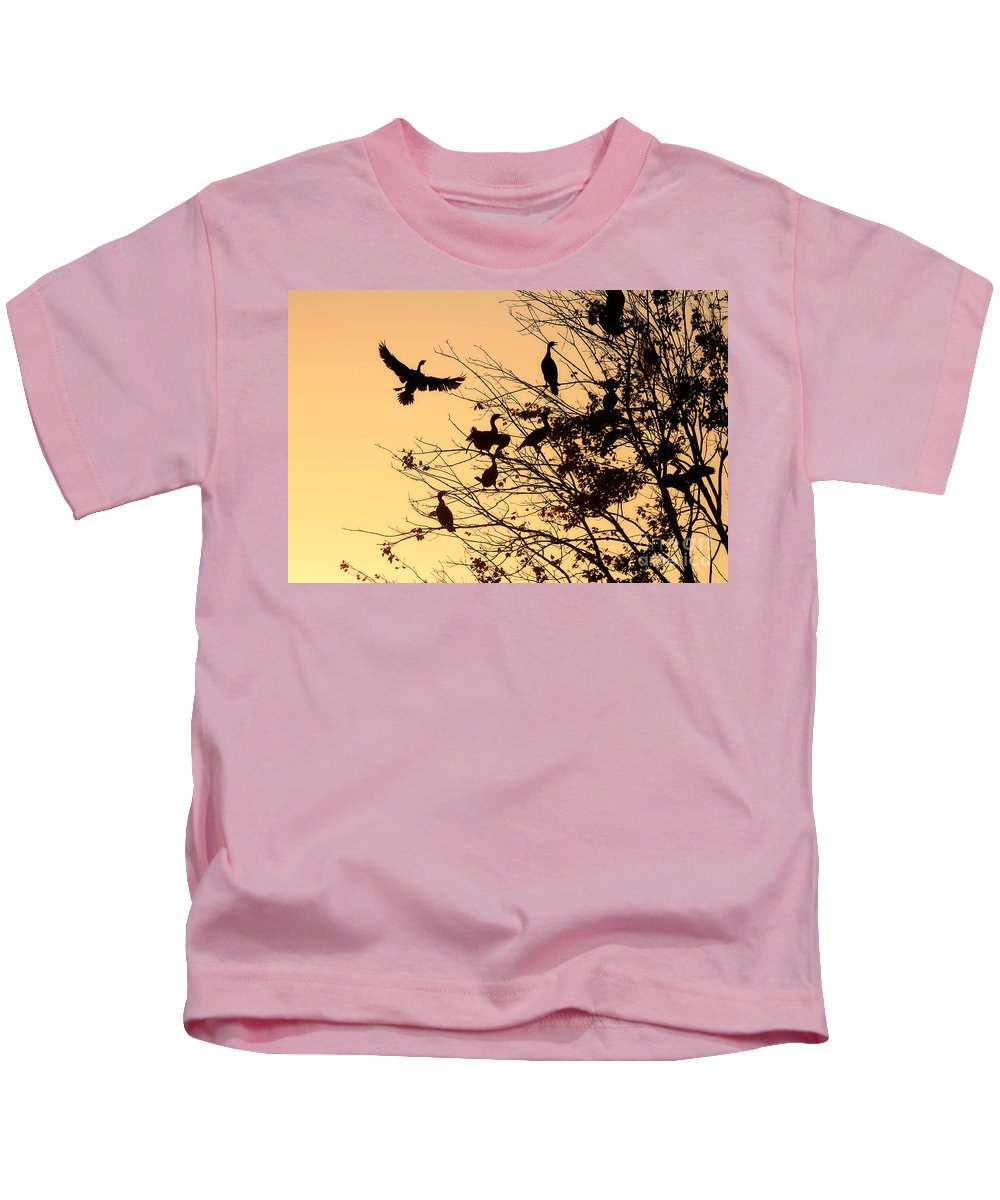 Cormorants Kids T-Shirt featuring the photograph Cormorants At Sunset by Matt Suess