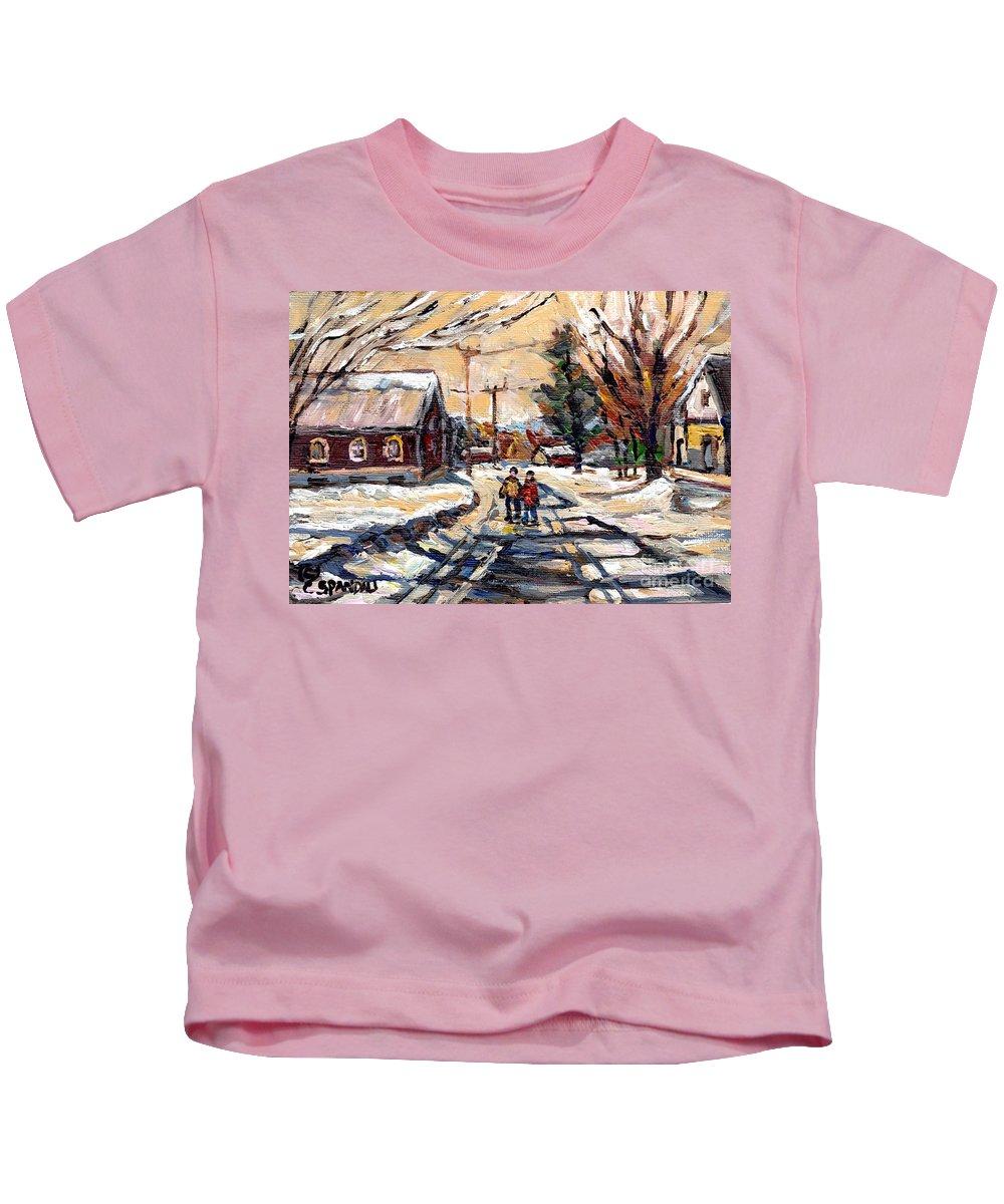 Affordable Montreal Art 375 Kids T-Shirt featuring the painting Purchase Best Original Quebec Winter Scene Paintings Achetez Paysage De Quebec Cspandau Art by Carole Spandau
